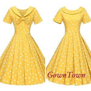 Amazon Brand GownTown 1950's Polka Dot Dress